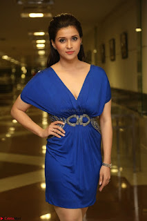 Mannara Chopra in Short Blue Dress at Rogue Movie Teaser Launch 1st March 2017 055.JPG