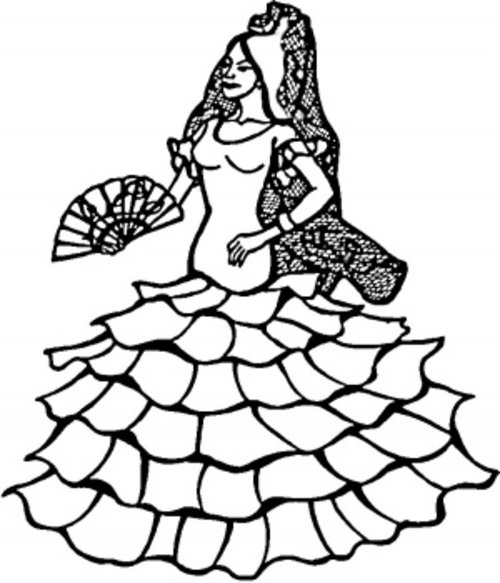 Spanish Dancer Coloring Page