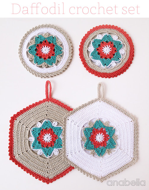 Daffodil crochet coasters and potholders by Anabelia