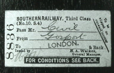 SR ticket Gosport – London 1937