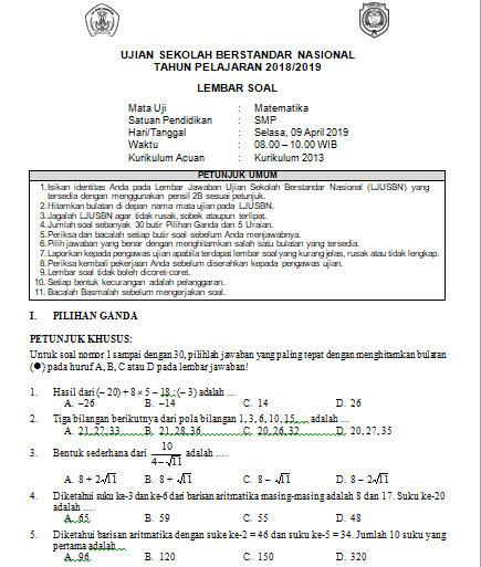 Soal Dan Kunci Jawaban Usbn Matematika Smp Kurikulum 2013 Tahun Pelajaran 2018 2019 Didno76 Com