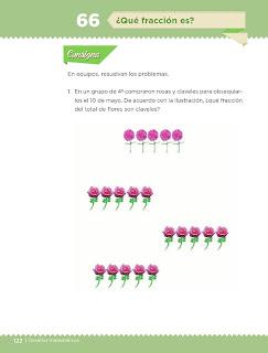 Apoyo Primaria Desafíos Matemáticos 4to. Grado Bloque IV Lección 66 ¿Qué fracción es?