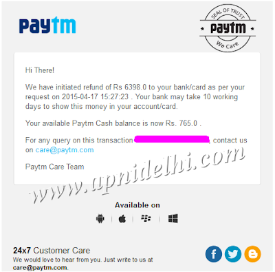 Paytm Initiated Bank Refund