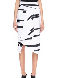 CMEO Collective A Little Soul wrap front white midi skirt with black block pattern