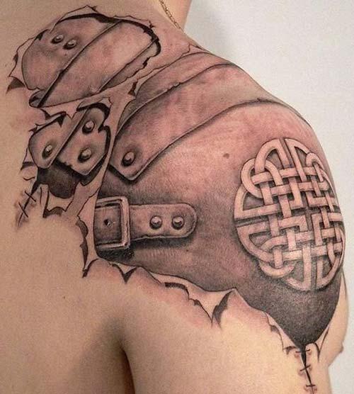 erkek omuz zırh dövmesi man shoulder armor tattoo 2