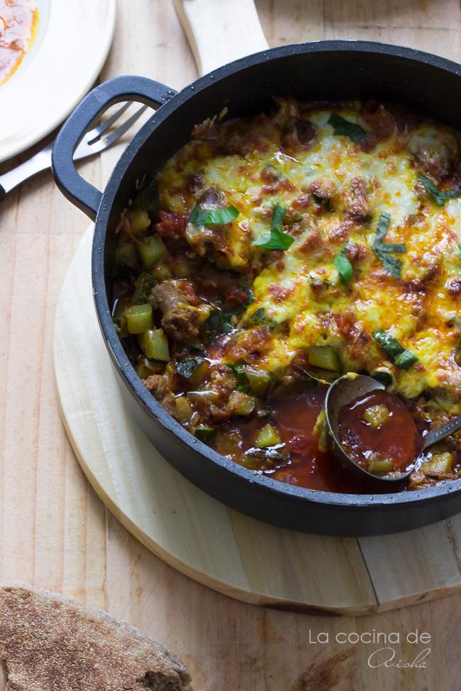saussage-zuccini-casserole-grated-mozzarella