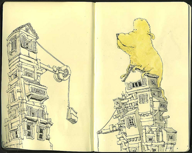 09-Beast-Of-Burden-Mattias-Adolfsson-Surreal-Architectural-Moleskine-Drawings-www-designstack-co