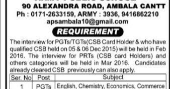 APS Ambala PGT/ TGT/ PRT Recruitment 2018 Application Form