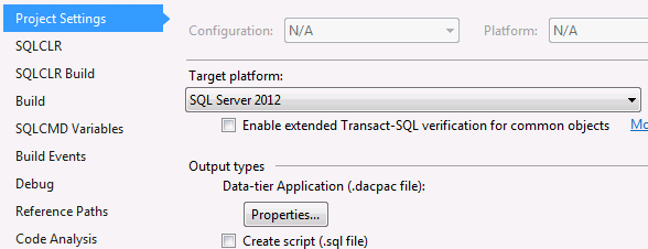 A project which specifies SQL Server 2012 as the target