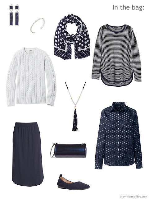 Tote Bag Travel capsule wardrobe in navy and white, for work, for spring