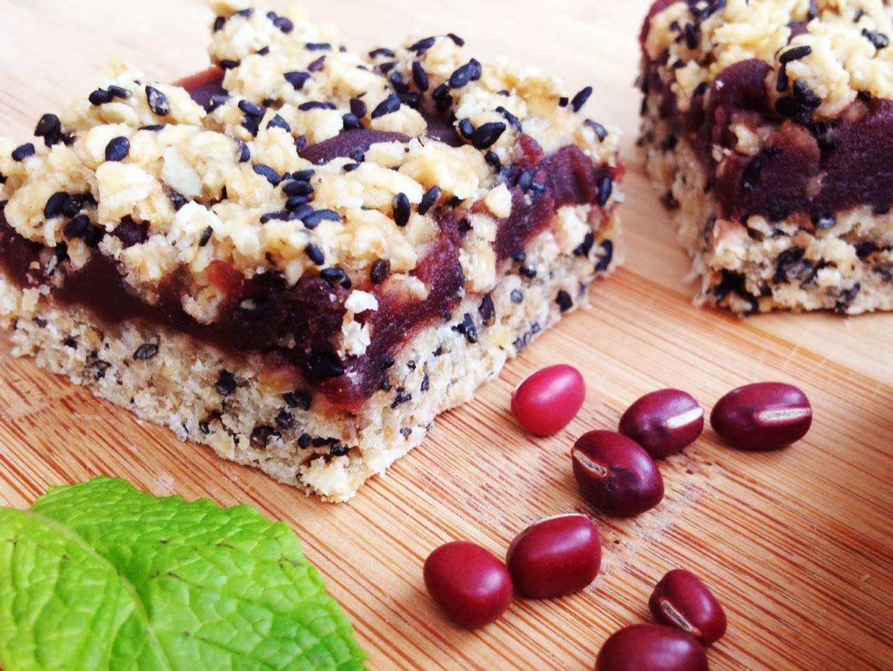 wholly vegan sweet sesame adzuki bean crumb bars. Black Bedroom Furniture Sets. Home Design Ideas