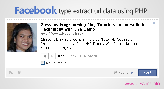 Facebook type extract url data using PHP and jQuery