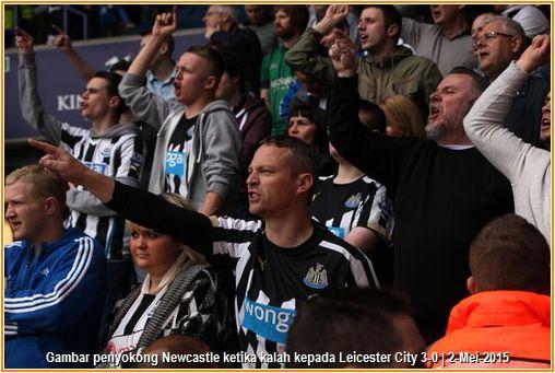 Gambar penyokong Newcastle United mencemuh permainan menentang Leicester City