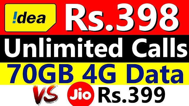 Idea , unlimited calls, 1 GB data per day