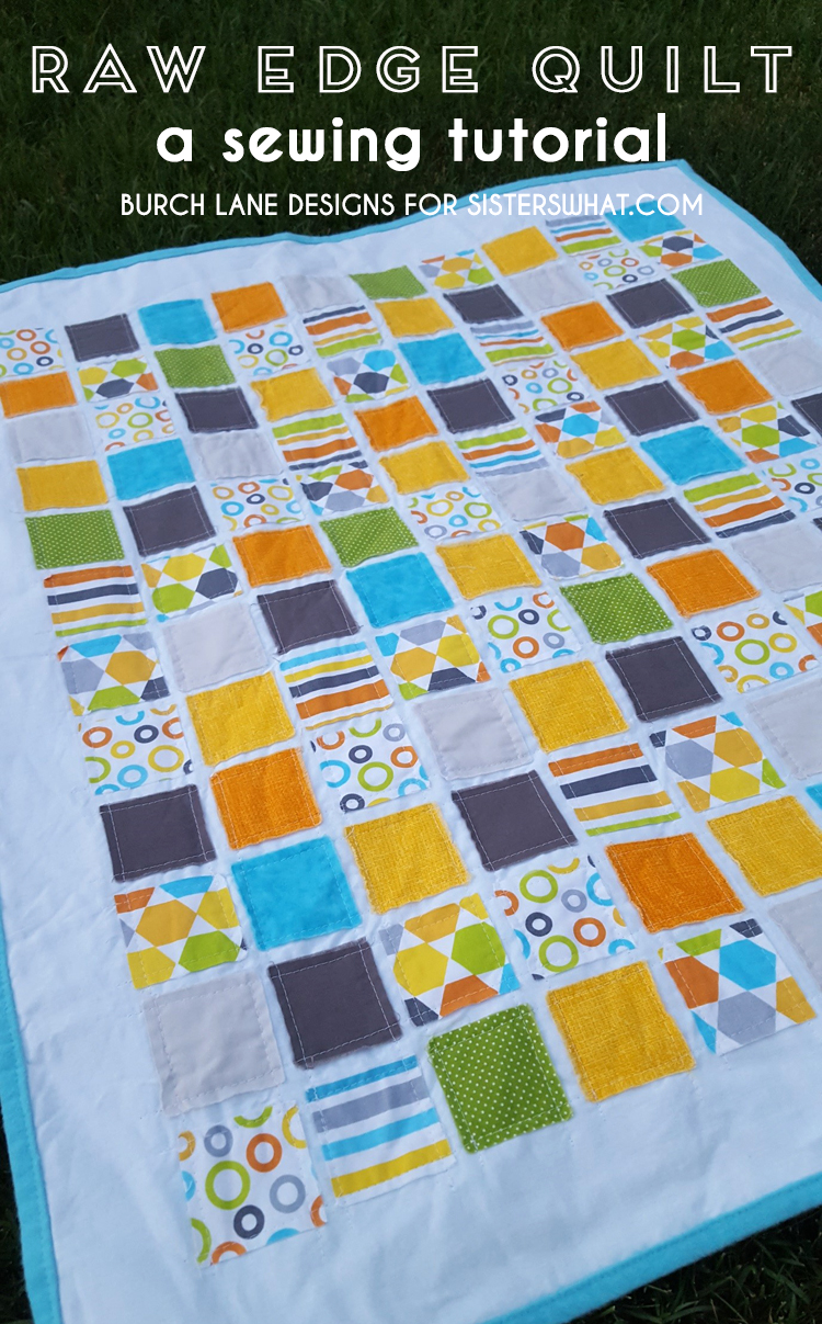 A raw edge baby quilt easy sewing tutorial - also great as a baby doll quilt