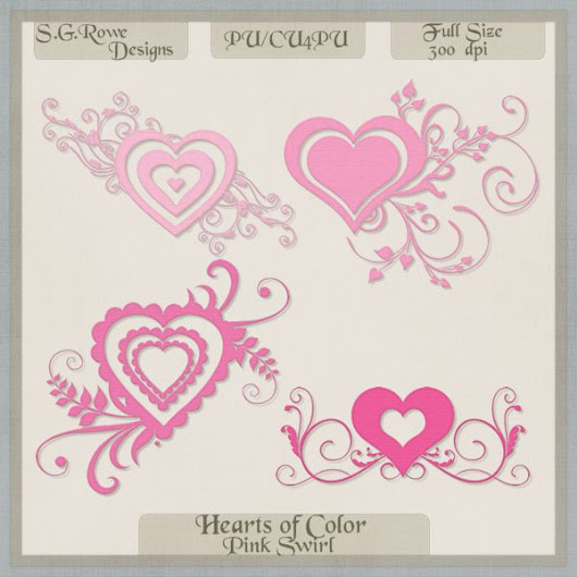 Hearts of Color Swirl Hearts - Pink Shades