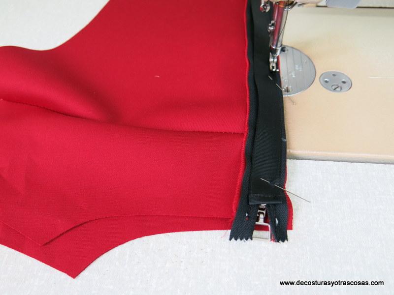 colocación de una cremallera con tapeta