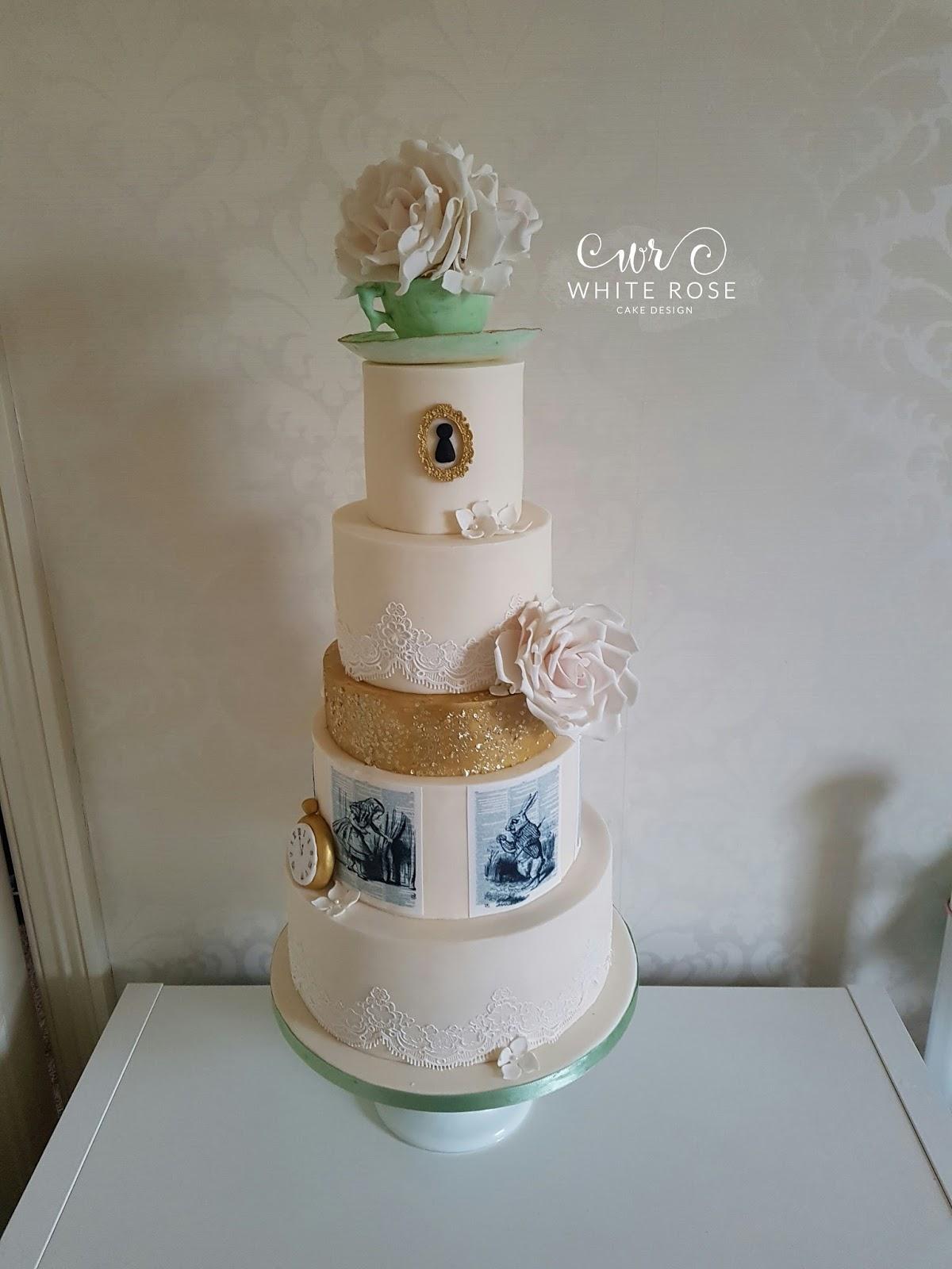 White Rose Cake Design Alice In Wonderland Inspired Wedding Cake
