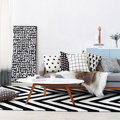 tendances décoration 2016 mélange d'imprimés noir et blanc