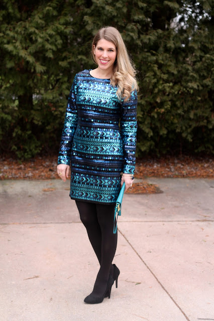 turquoise sequin dress perfect for New Year's Eve!