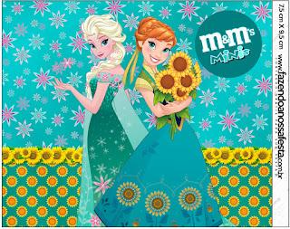 Etiquetas M&M de Frozen Fever  para imprimir gratis.