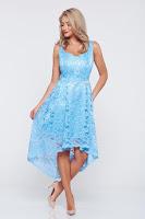 Rochie de ocazie asimetrica PrettyGirl albastra-deschis din material dantelat • PrettyGirl