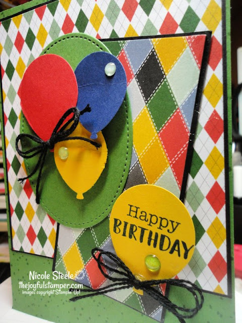 birthday card for him using Balloon Bouquet Punch and Country Club Designer Series Paper | Stampin' Up! | Nicole Steele The Joyful Stamper | Splitcoaststampers card sketch 799