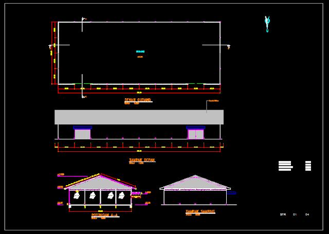 Gambar Kerja Gudang Single Beam Lengkap Dengan Detail Dwg