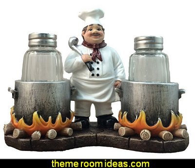 French Chef With Flaming Pots Decorative Salt And Pepper Shaker