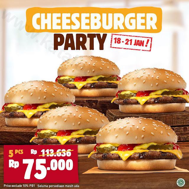 Promo BURGER KING Cheeseburger Party! 5 Pcs