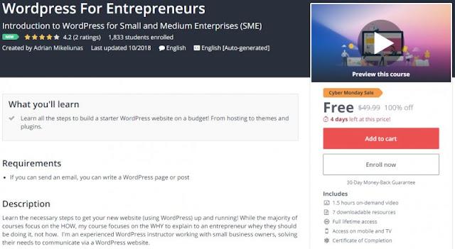 [100% Off] Wordpress For Entrepreneurs| Worth 49,99$