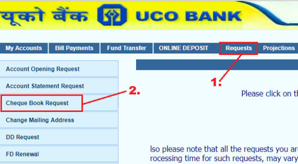 how to apply cheque book in uco bank online