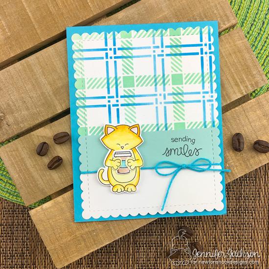 2018 Fall/Winter Coffee Lovers Blog Hop! Plaid Coffee Card by Jennifer Jackson   Sending Hugs Stamp Set and Plaid Stencil Set by Newton's Nook Designs #newtonsnook #handmade