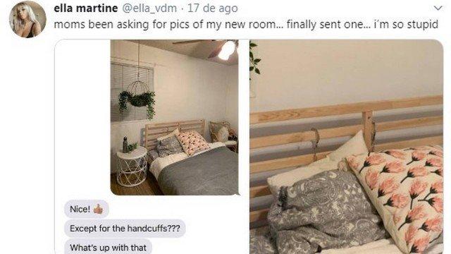 Cantora esqueceu de remover as algemas da cama antes de enviar a foto da mãe do novo quarto