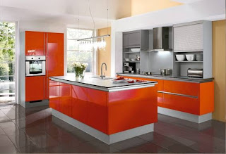 Foto de cocina color naranja