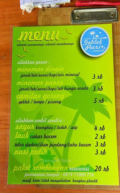 Daftar menu harga makanan di Geblek Pari Nanggulan