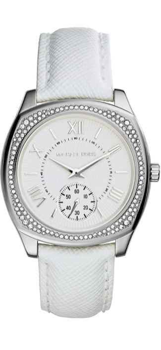 Michael Kors Bryn Stainless Leather-Strap Watch white