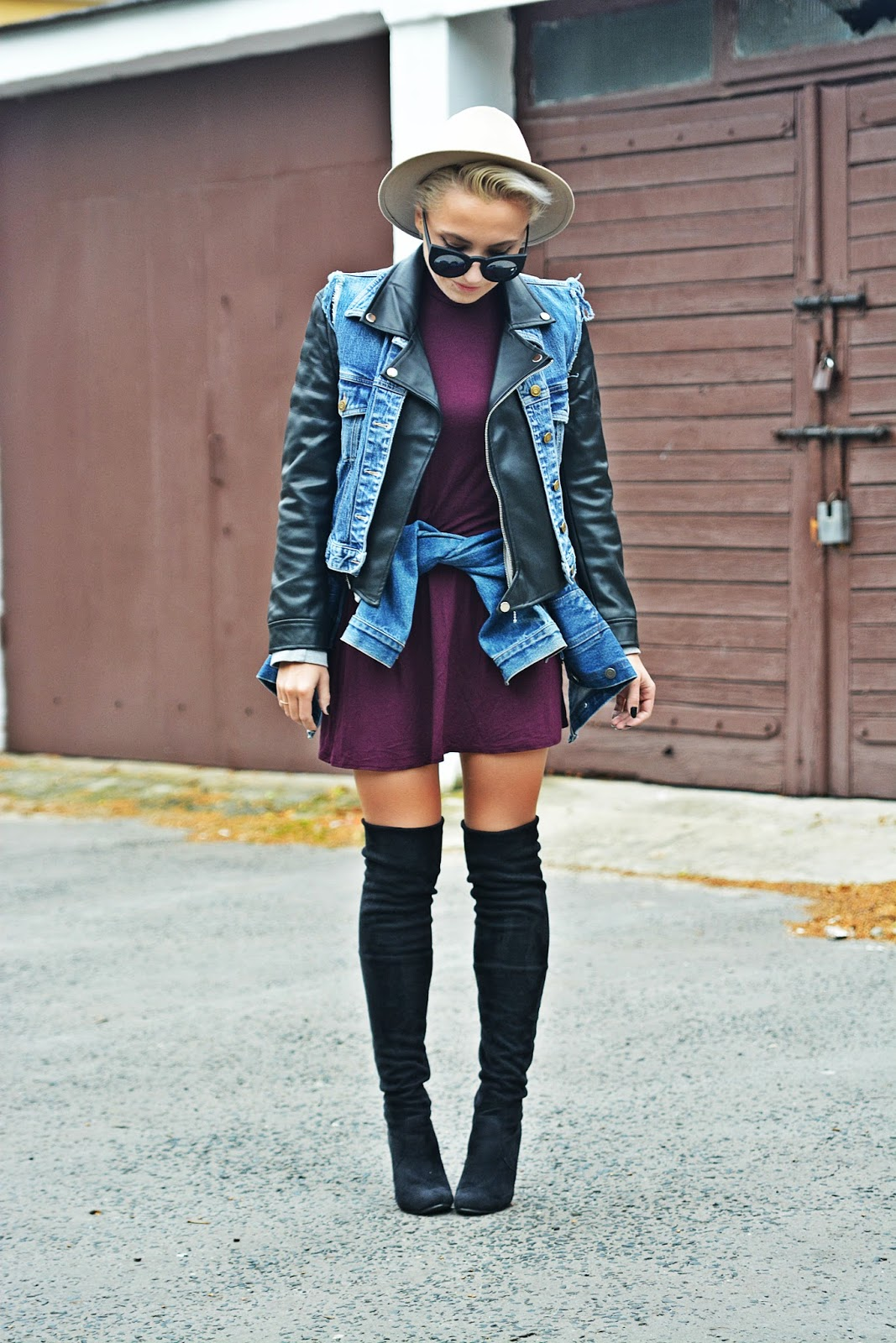 burgundy_dress_biker_jacket_high_knee_boots_karyn2b