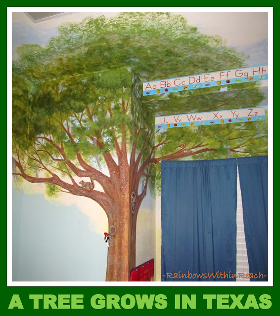 photo of: Tree Mural in Preschool Classroom (from Tree RoundUP via RainbowsWithinReach)