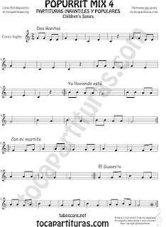 Mix 4 Partitura de Corno Inglés Dos Ranitas, Ya lloviendo está, Con mi Martillo, El Gusanito Popurrí Mix 4 Sheet Music for English Horn Music Scores