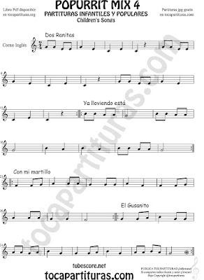 Mix 4 Partitura de Corno Inglés Dos Ranitas, Ya lloviendo está, Con mi Martillo, El Gusanito Popurrí Mix 4 Sheet Music for English Horn Music Scores