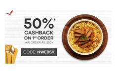 Faasos : Get Flat 50% Cashback on your first order. (Min Rs 250)