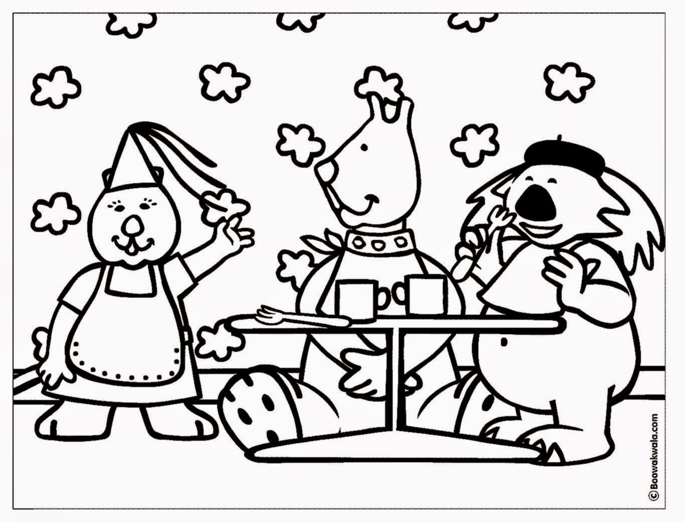 At Restaurant Coloring Pages