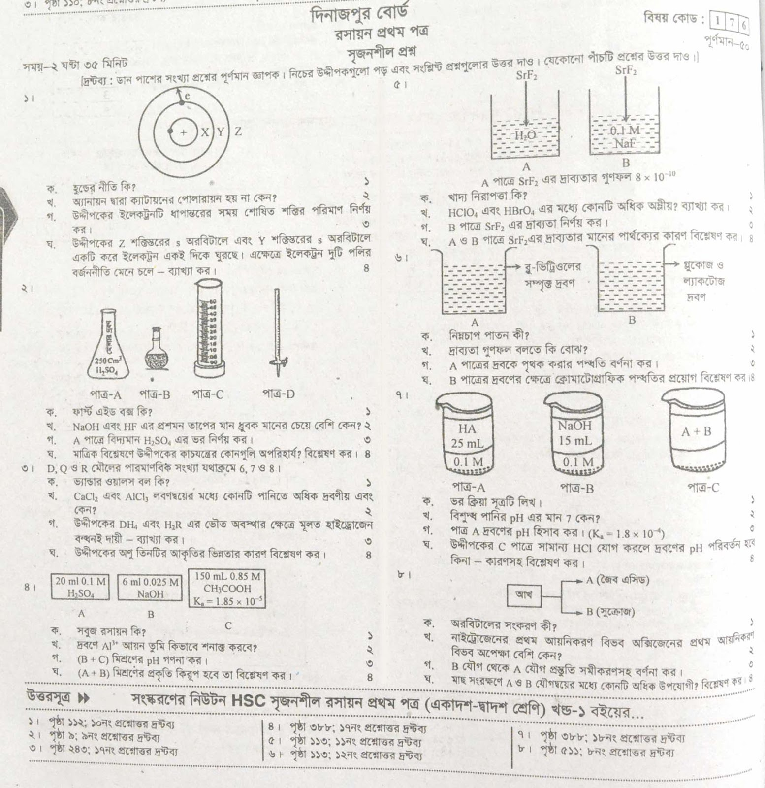 hsc Chemistry 1st Paper suggestion, exam question paper, model question, mcq question, question pattern, preparation for dhaka board, all boards
