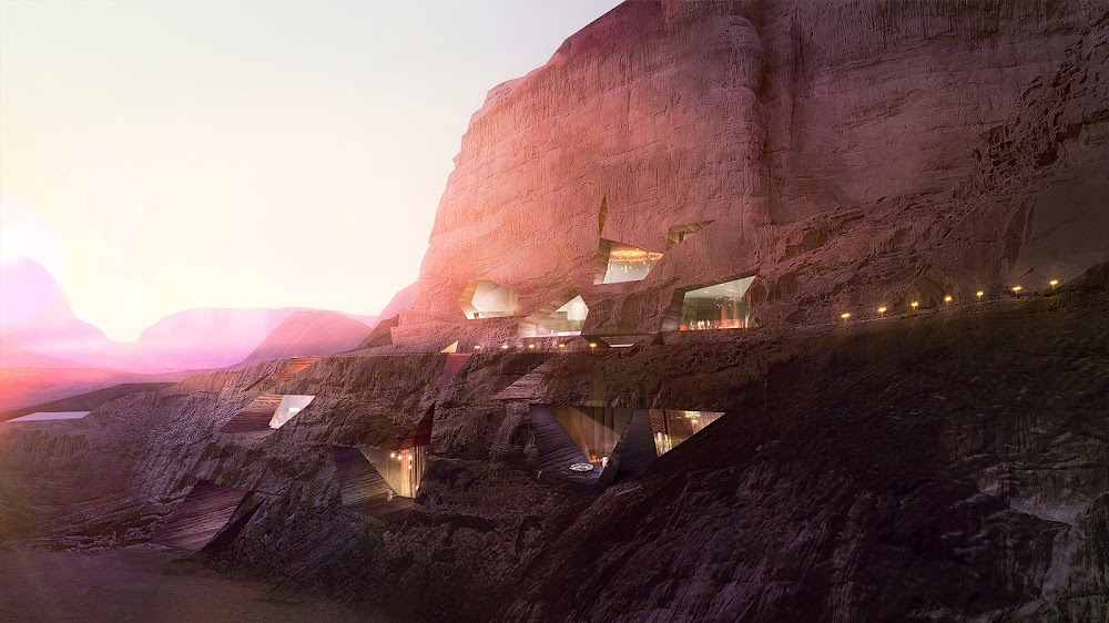 Mars colony style resort at Wadi Rum by Chad Oppenheim (day)