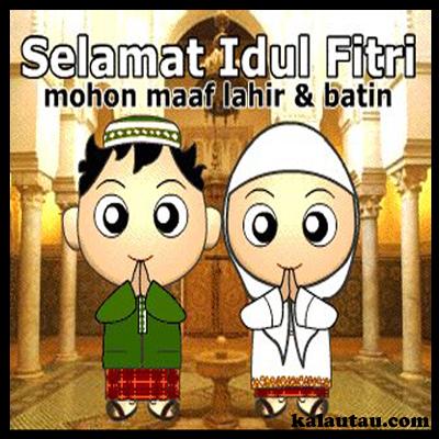 kalautau.com - Gambar Selamat Idul Fitri versi kartun pria dan wanita