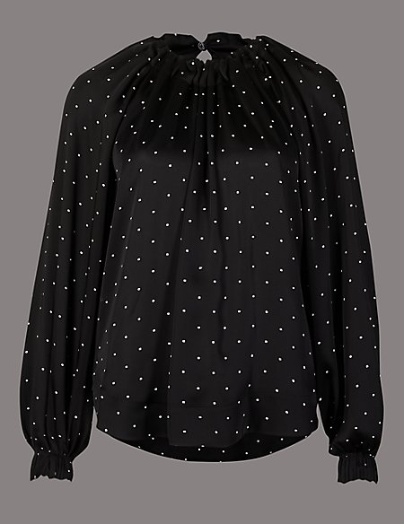 Marks and spencer printed round neck long sleeve blouse