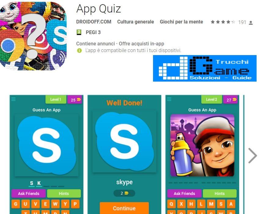 Soluzioni App Quiz | Screenshot Livelli con Risposte