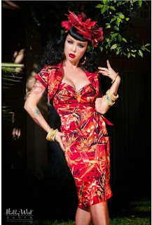 Pinup Girl Clothing Malibu Tiki Dress with Bolero in Orange Tropical Print