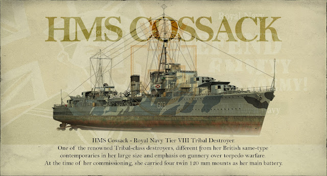 World of Warships HMS Cossack Tier VIII British Destroyer